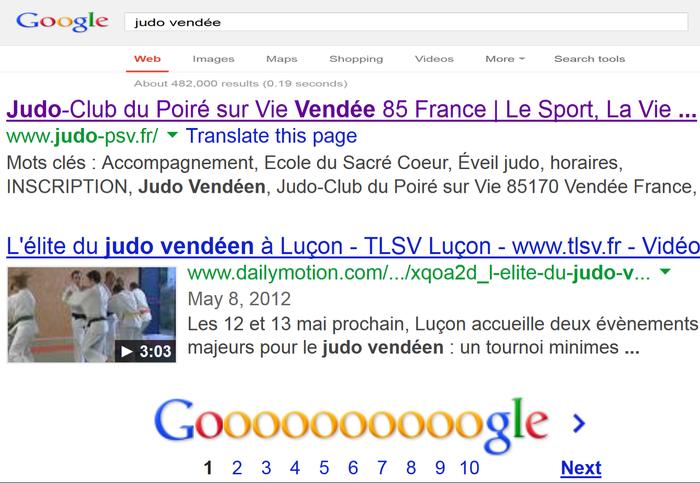 Référencement Google du site judo-psv.fr : Première page !